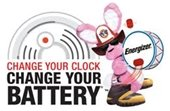 Energizer bunny with fire hat and boots - change your clock, change your battery