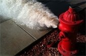 photo of red hydrant flushing water over sidewalk