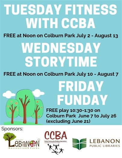 Tuesday, Wednesday & Friday Activities on Colburn Park