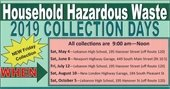 2019 Hazardous Waste Collection Days Schedule