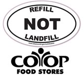 Refill not landfill logo with coop food stores logo underneath