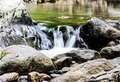 Water flowing over rocks in Great Brook by Storrs Hill in Lebanon.