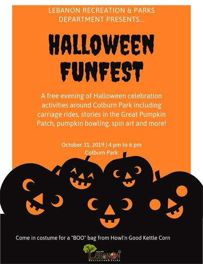 Halloween FunFest - Oct. 31 4 pm to 6 pm Colburn Park