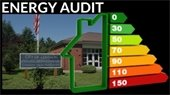 photo of police station with energy audit graph overlay