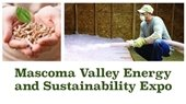 Mascoma Valley Energy Expo promo with hands holding wood pellets and man blowing insulation through hose
