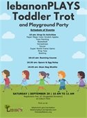 Toddler Trot flyer image with children walking in a line holding rope