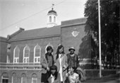 """""""This is scanned from a negative my mother has from Lebanon High School on Bank Street [circa 1940s]. She saved it from an old yearbook collection that was being discarded when she was a student there.""""  Photo submitted by Andrew Langley. Students unknown."""