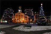 """""""Festive holiday lights outside City Hall on the Lebanon town green, Colburn Park."""" Photo submitted by Amy Drapeau Olson."""
