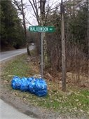Trash bags by road sign image