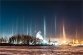 Light pillars over Lebanon, NH just before sunrise on January 12, 2019. Photo submitted by Stephanie Graudons.