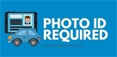 photo ID required with clipart of ID and vehicle