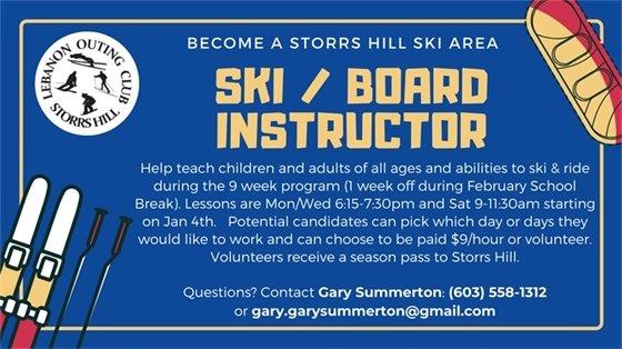 Storrs Hill Ski/Board Instructors Needed