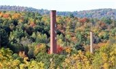 Lebanon Woolen Mill smokestack in the fall. Photo submitted by David Bagley.