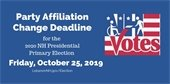 Party affiliation change deadline is Friday, October 25, 2019