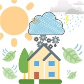 clipart of house with sun, snow, rain, and wind