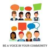 Be a voice in your community clipart of people with speech bubbles over heads