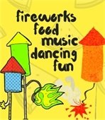 clipart of fireworks and text food music dancing fun