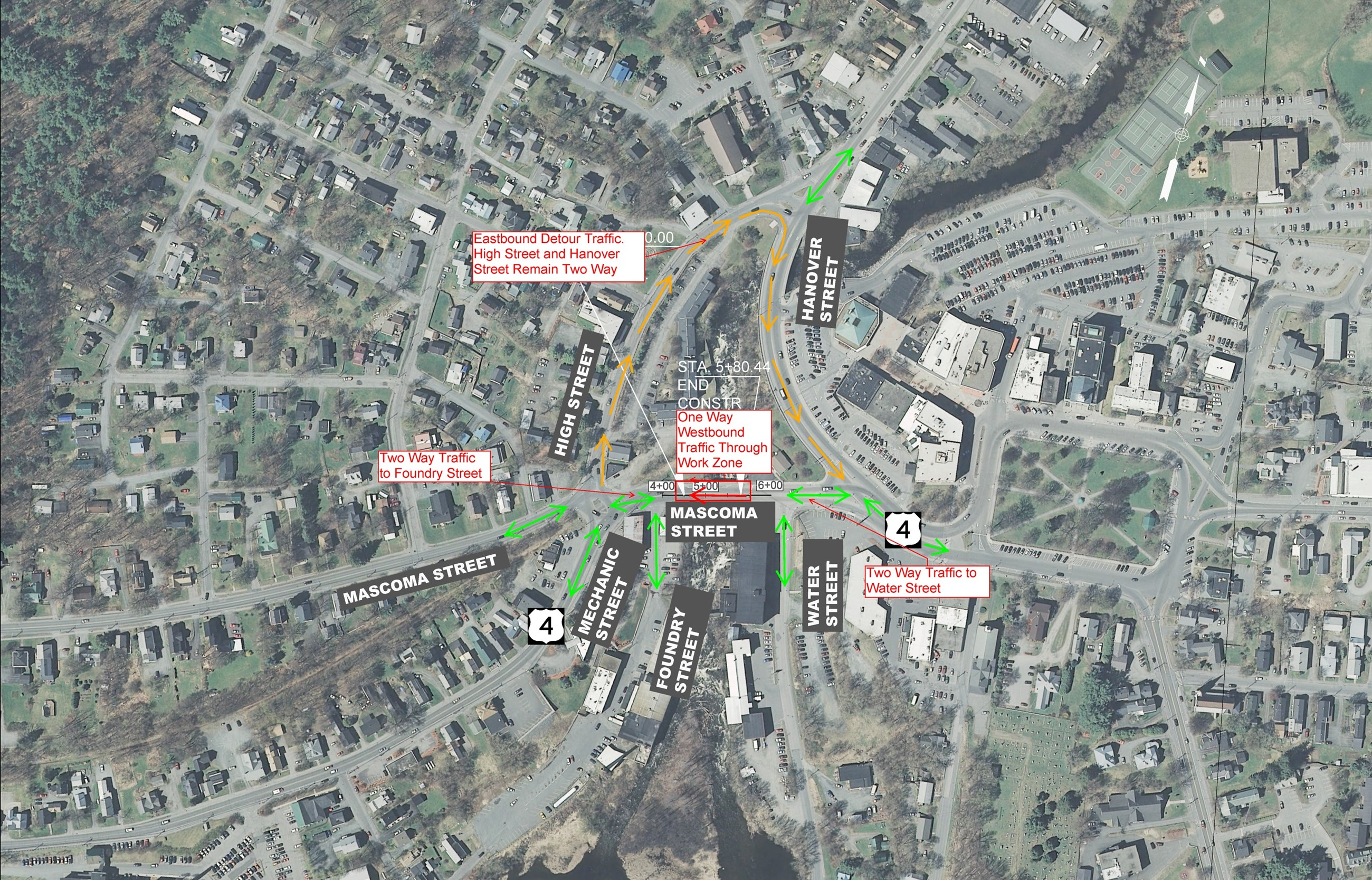 Mascoma St. Bridge Reconstruction Detour Map