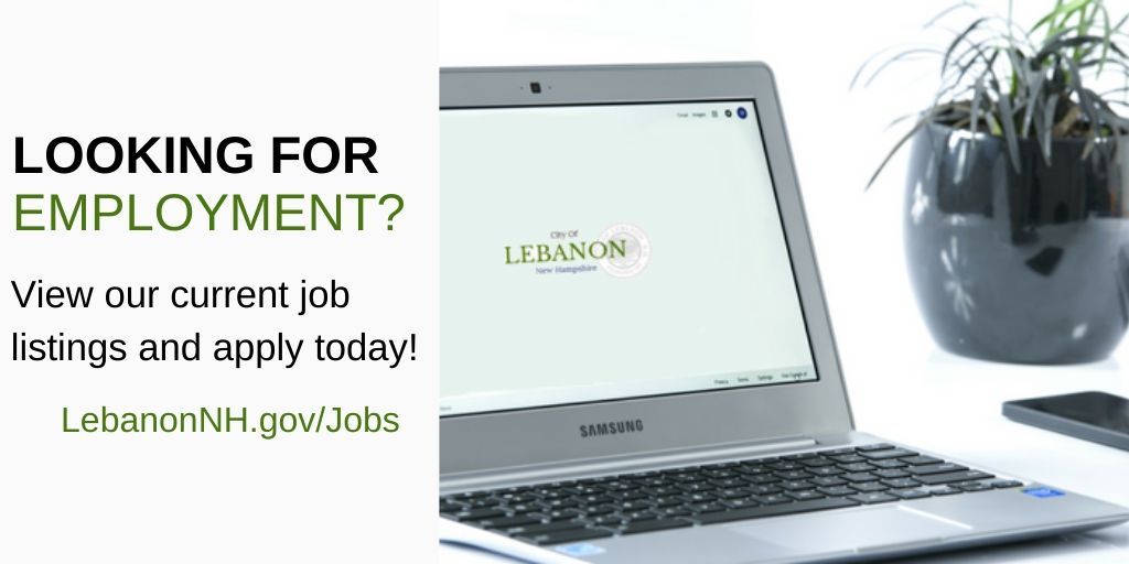 "image of laptop showing city logo and ""looking for employment"" text"