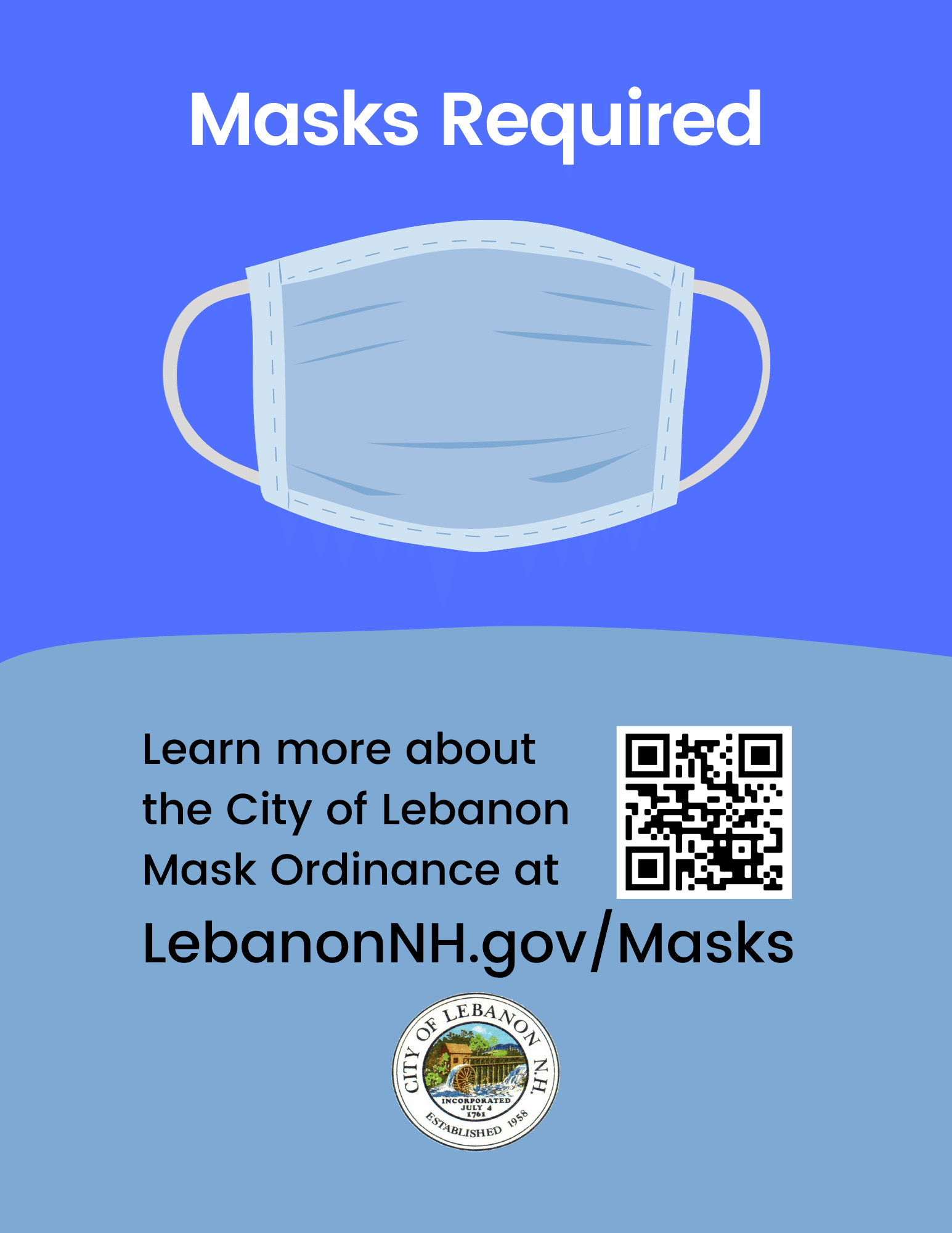 Masks Required poster with QR code pointing to LebanonNH.gov/Masks
