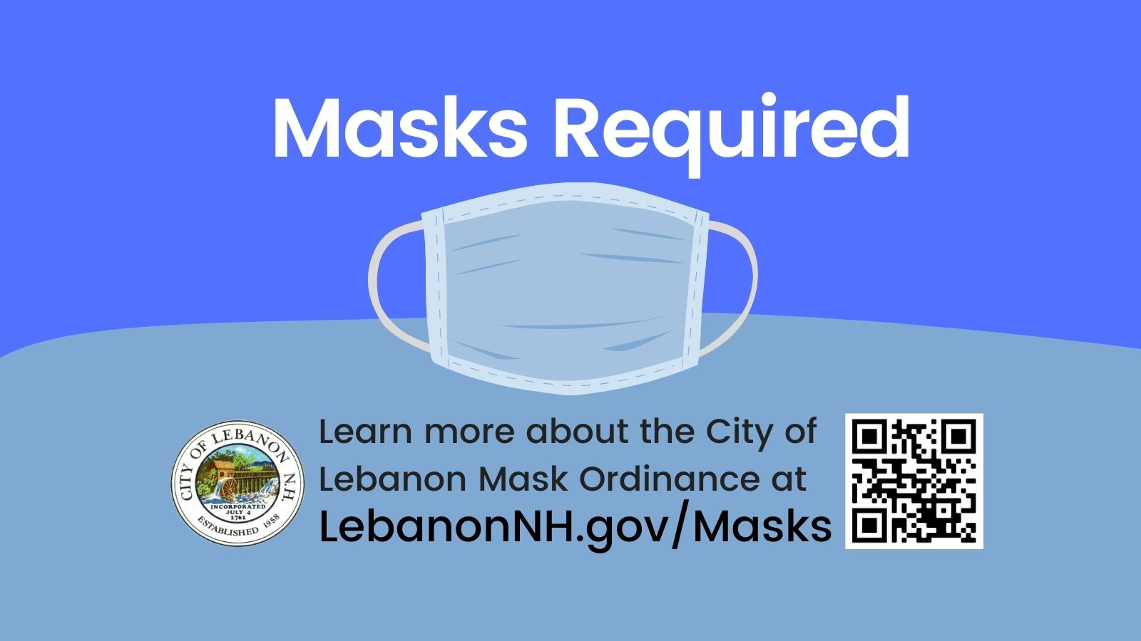 Masks Required newsflash with QR code pointing to LebanonNH.gov/Masks