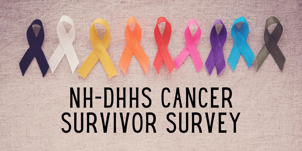 NH-DHHS Cancer Survivor Survey with cancer ribbon display