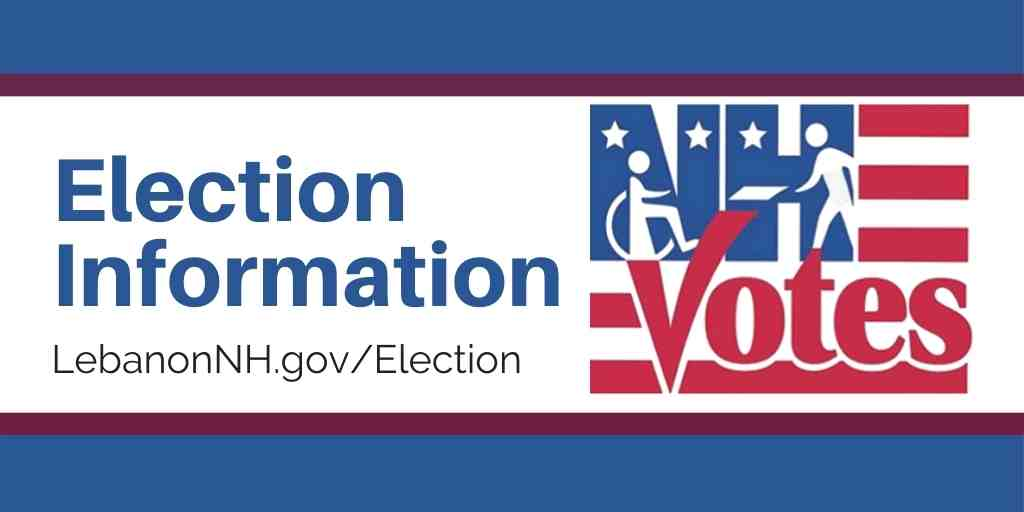 Red, white, and blue Election Information promo with NH Votes logo