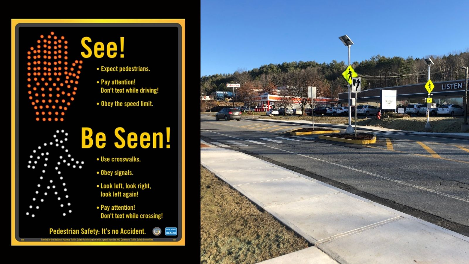 Winter Safety reminders with photo of Miracle Mile crosswalk