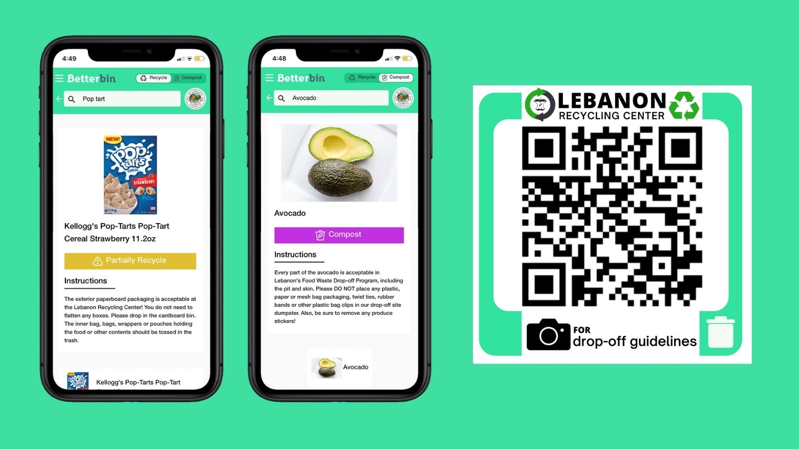 screenshots of betterbin app on mobile devices with QR code to scan