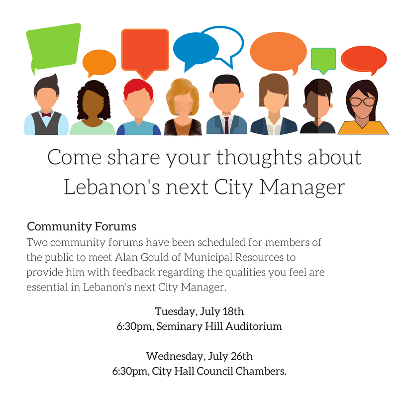 Come share your thoughts about Lebanon&#39s next City Manager