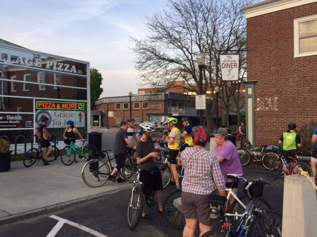 Bicyclists gathered for the Ride of Silence on the Lebanon Mall