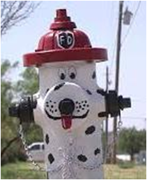 photo of fire hydrant painted like dalmatian with fire hat