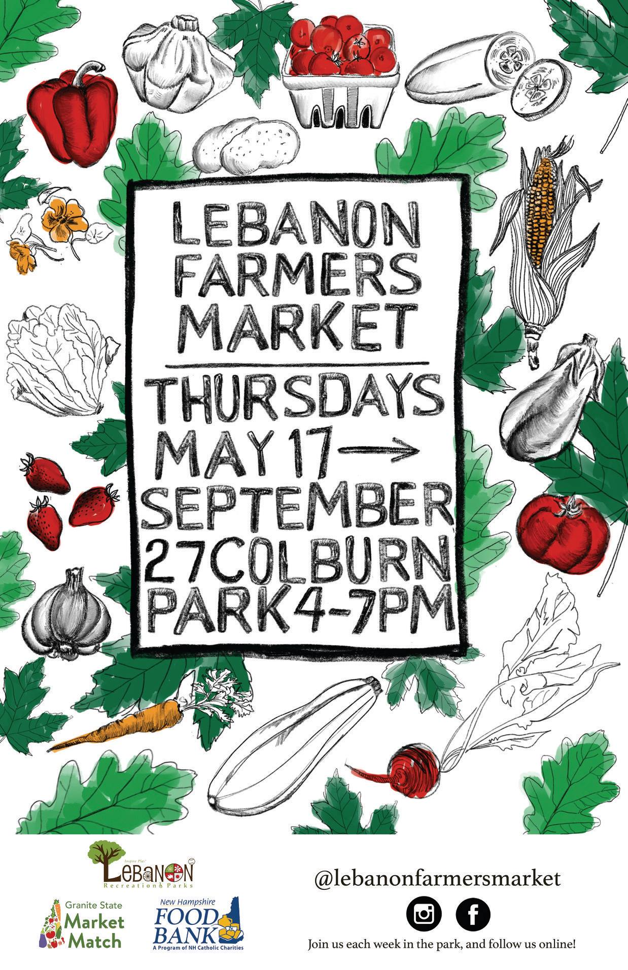 Lebanon Farmers' Market 2018 Poster with veggies drawn, Thursdays May 17-September 27 Colburn Par