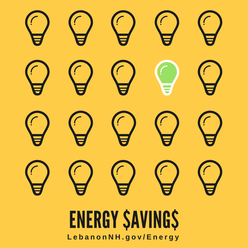 light bulbs all darkened except for one with words Energy Savings