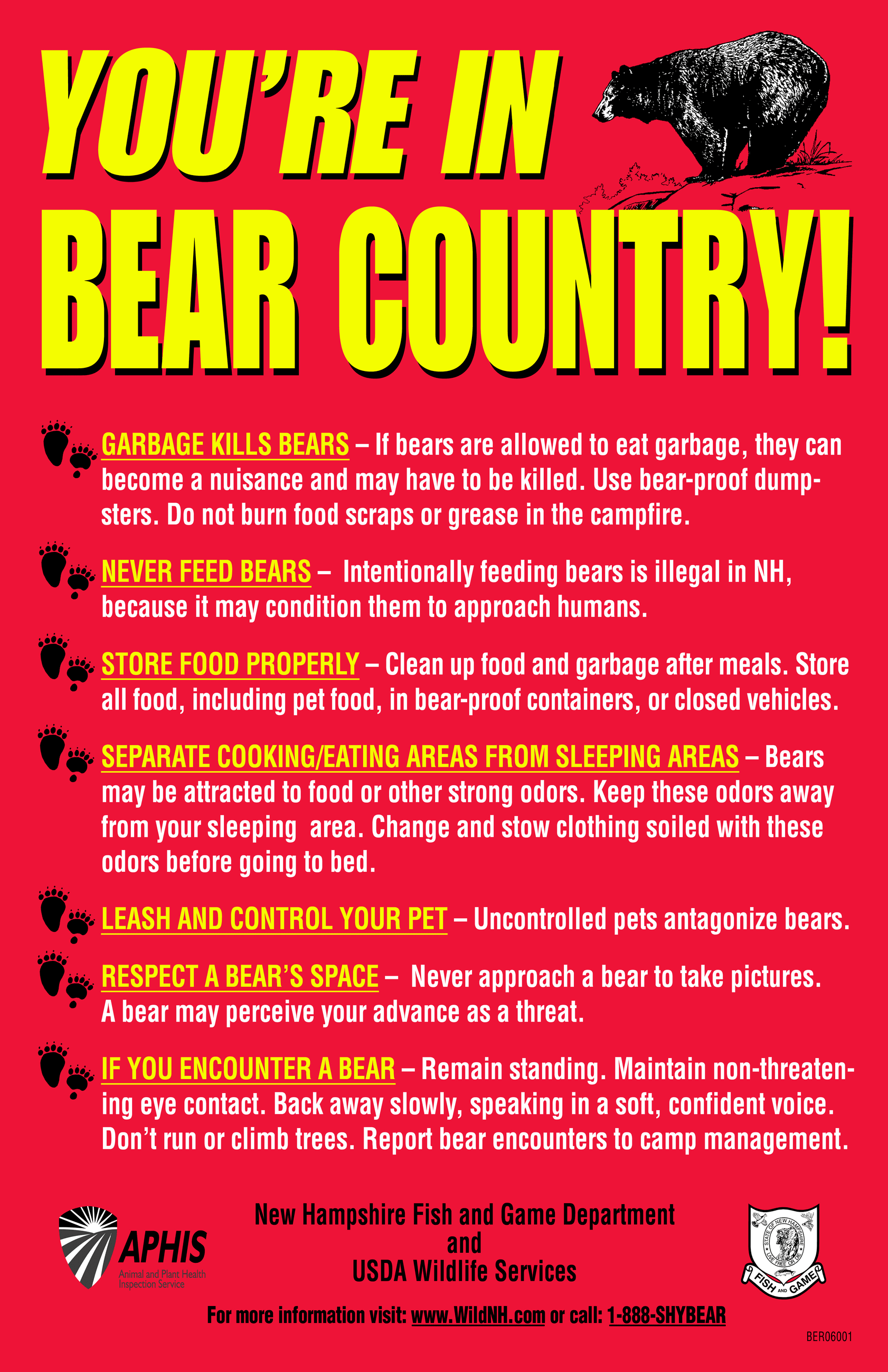 &#34You&#39re in Bear Country!&#34 poster with safety tips