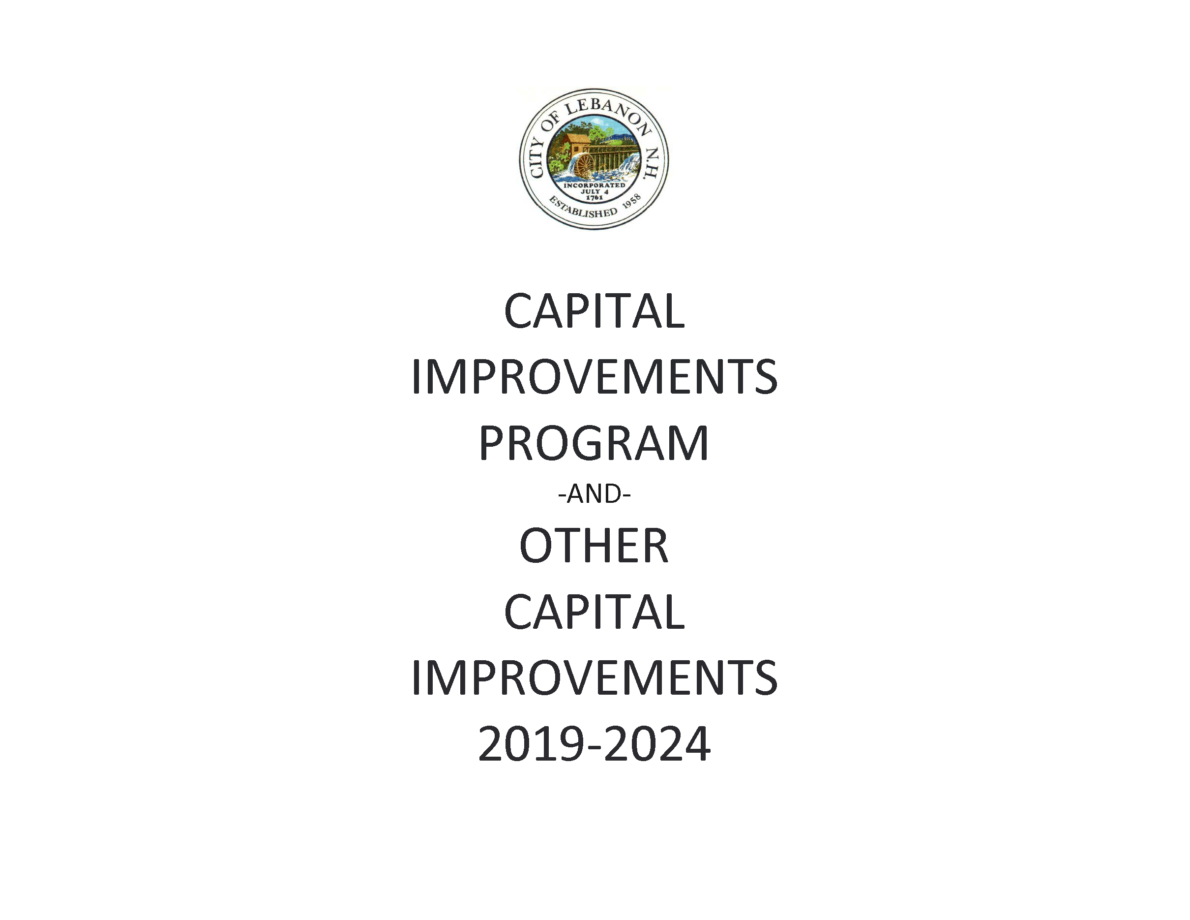 Cover page for 2019 Capital Improvements Program
