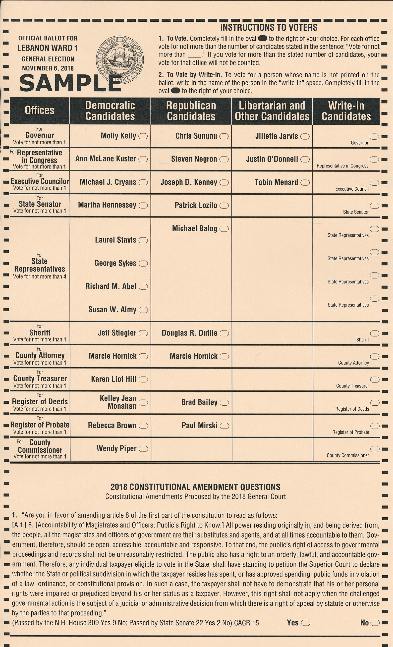 Election information | hollis nh.