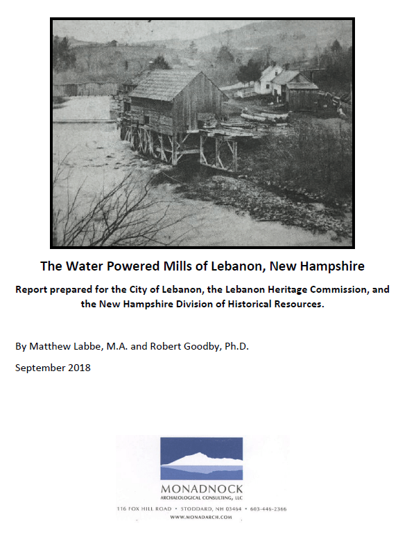 screenshot of the cover of the Lebanon Mills Report