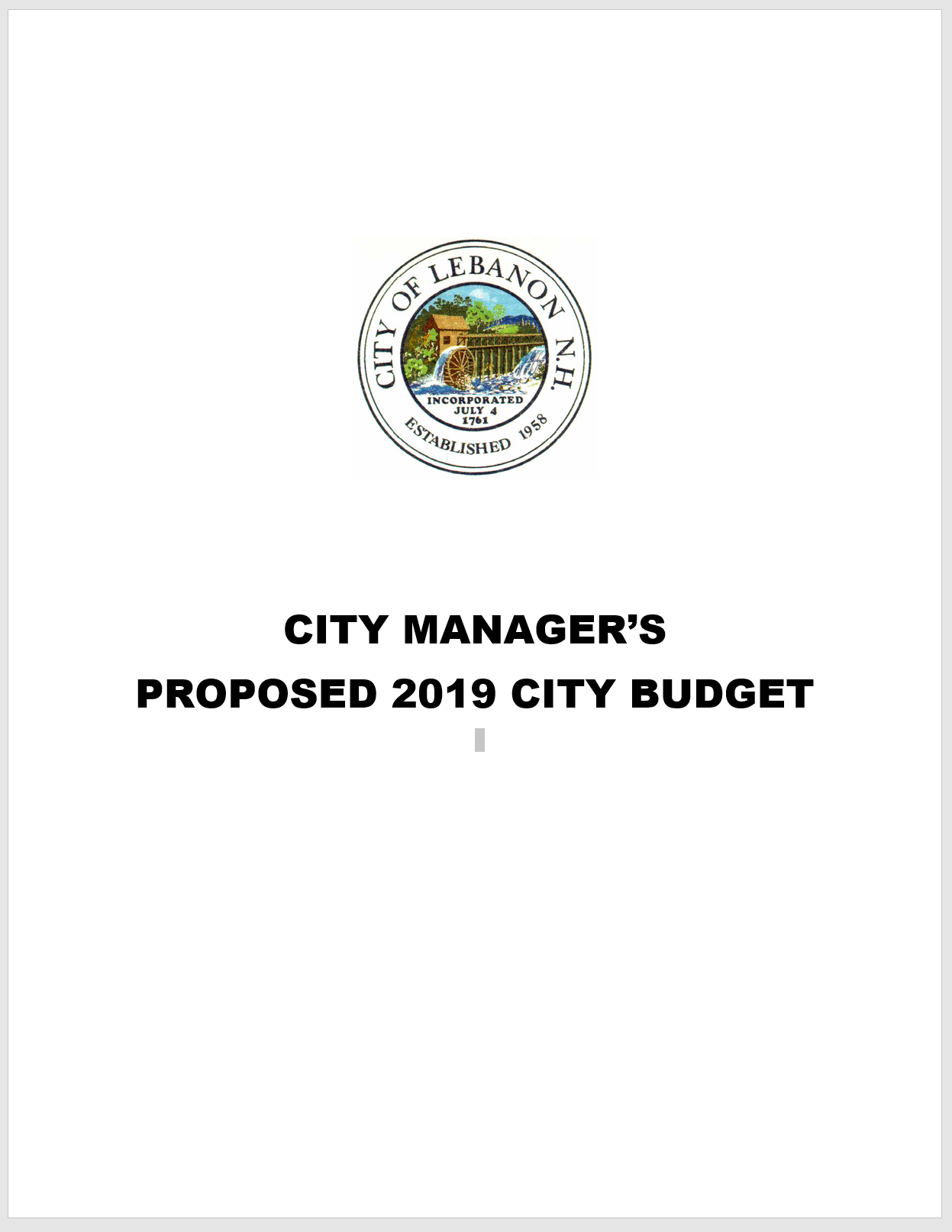 2019 proposed budget cover page with city seal