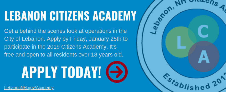 Lebanon Citizens Academy promo banner with Apply Now highlight