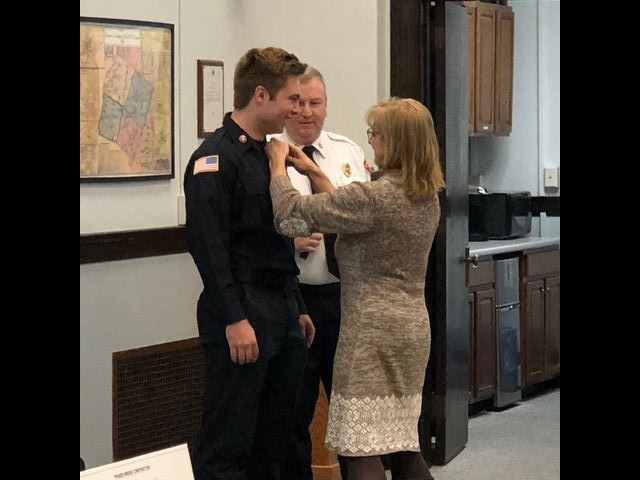 photo of swearing in of Lebanon Firefighter Isaac Cleveland.