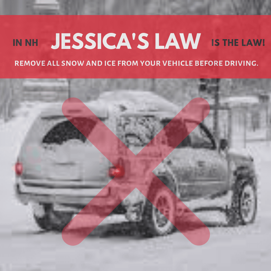 Jessica&#39s Law promo with photo of snow covered vehicle with X over it