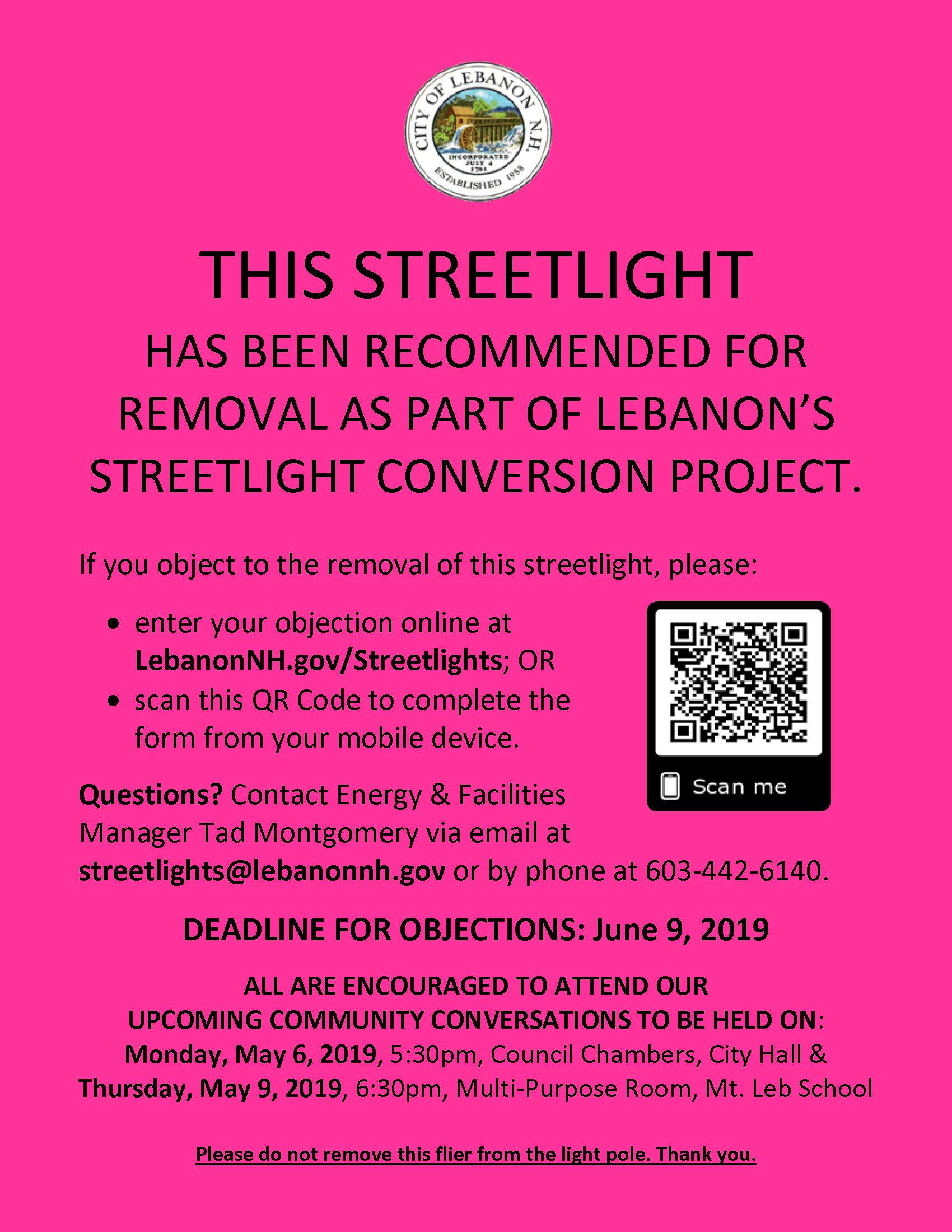 Streetlight Removal Notice