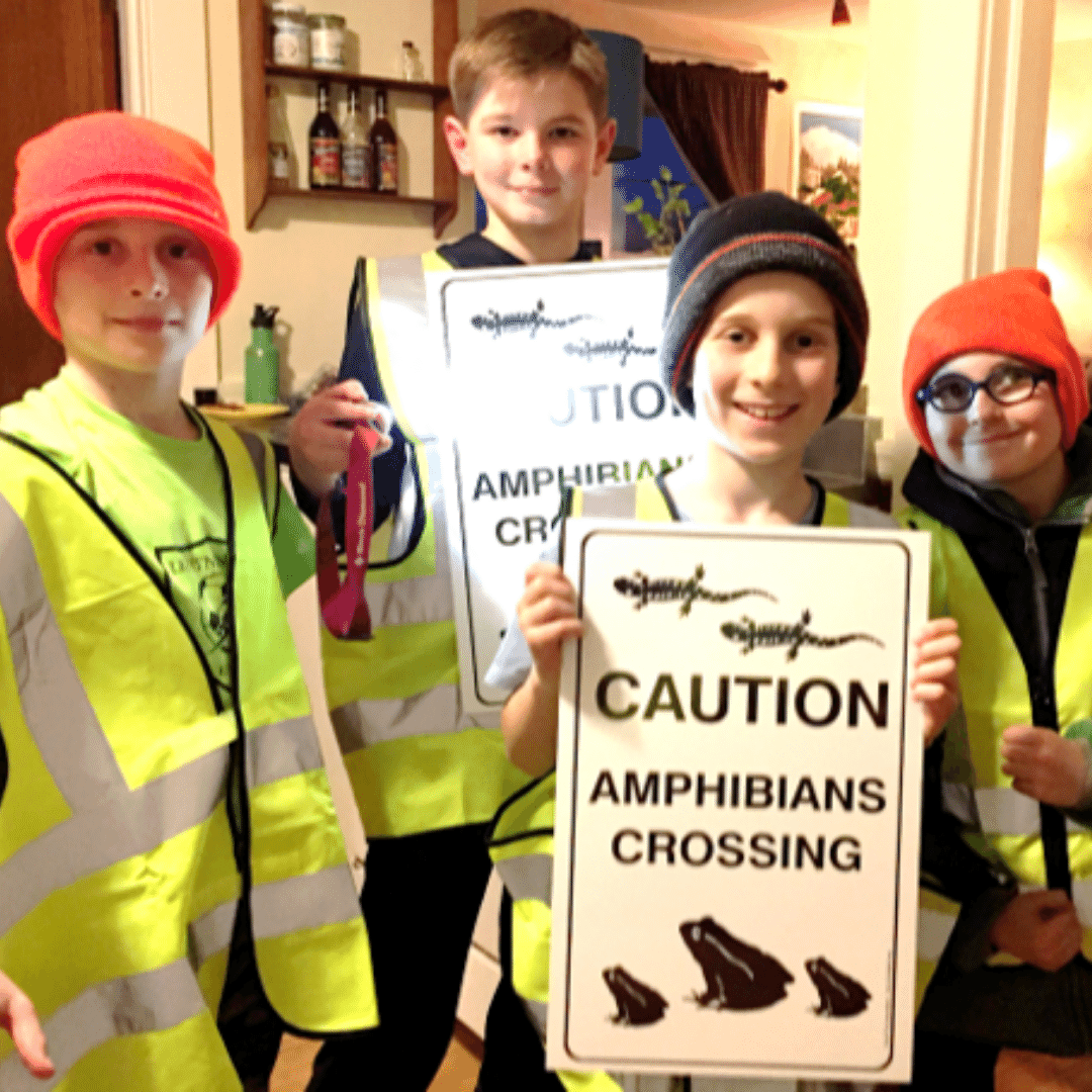 photo of young Big Night volunteers holding amphibian crossing signs