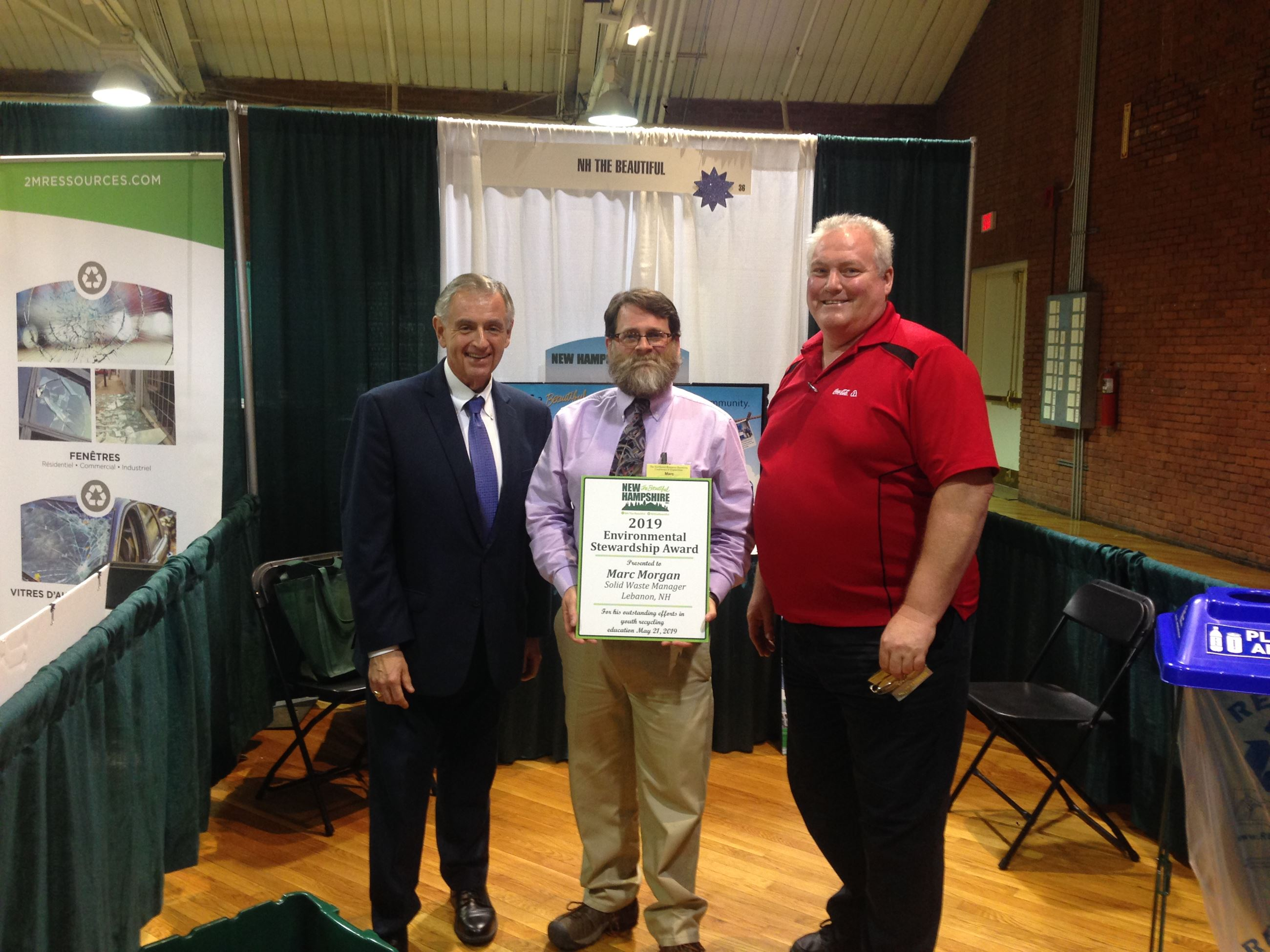 Marc Morgan receiving the 2019 Environmental Stewardship Award