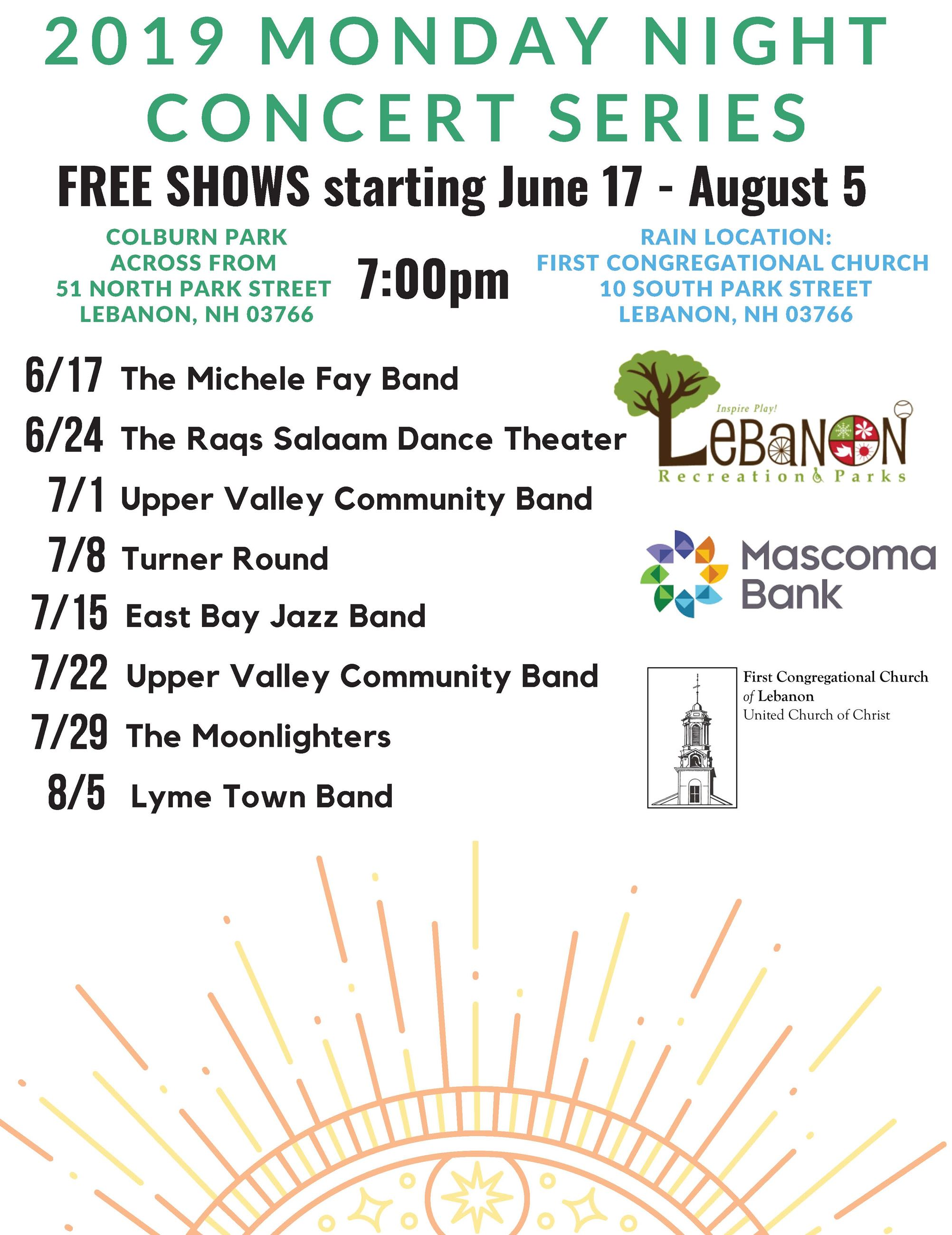 Monday Night Concerts 2019 Flyer