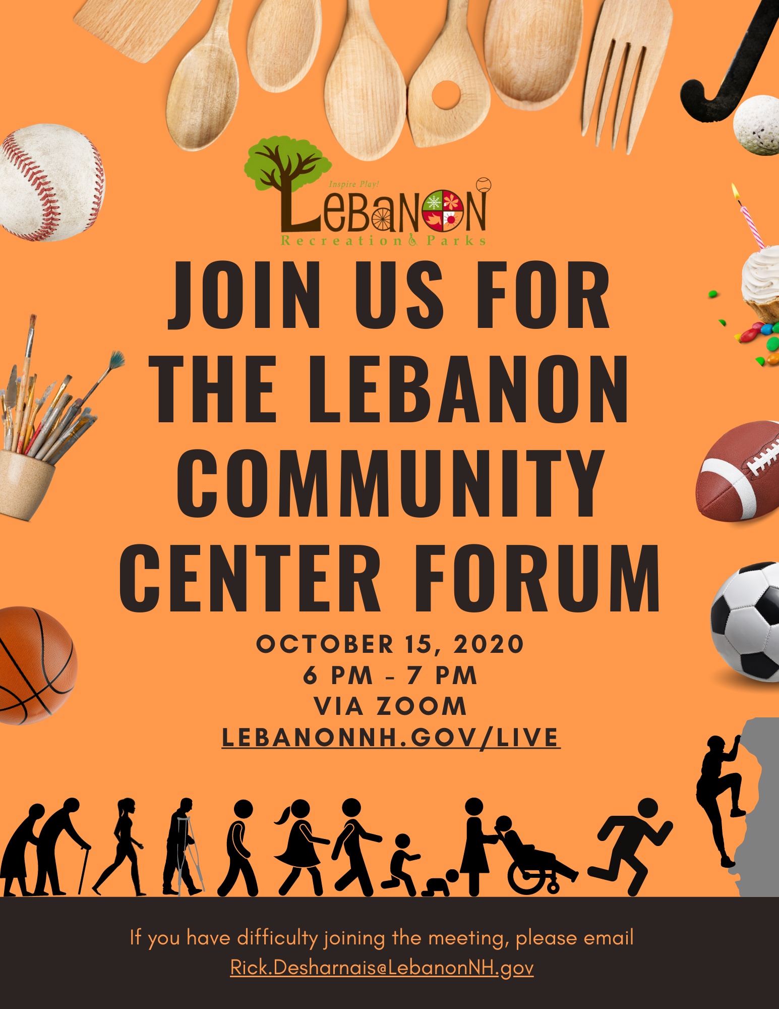 Community Center Forum Flyer on Zoom. Tune in at www.Lebanonnh.gov/live.