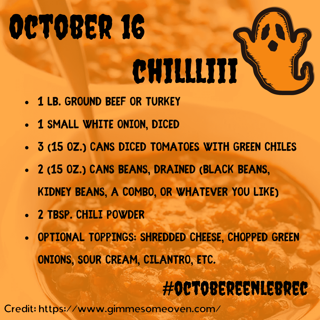 October 16 - Chili Recipe from www.gimmesomeoven.com. Opens in new window