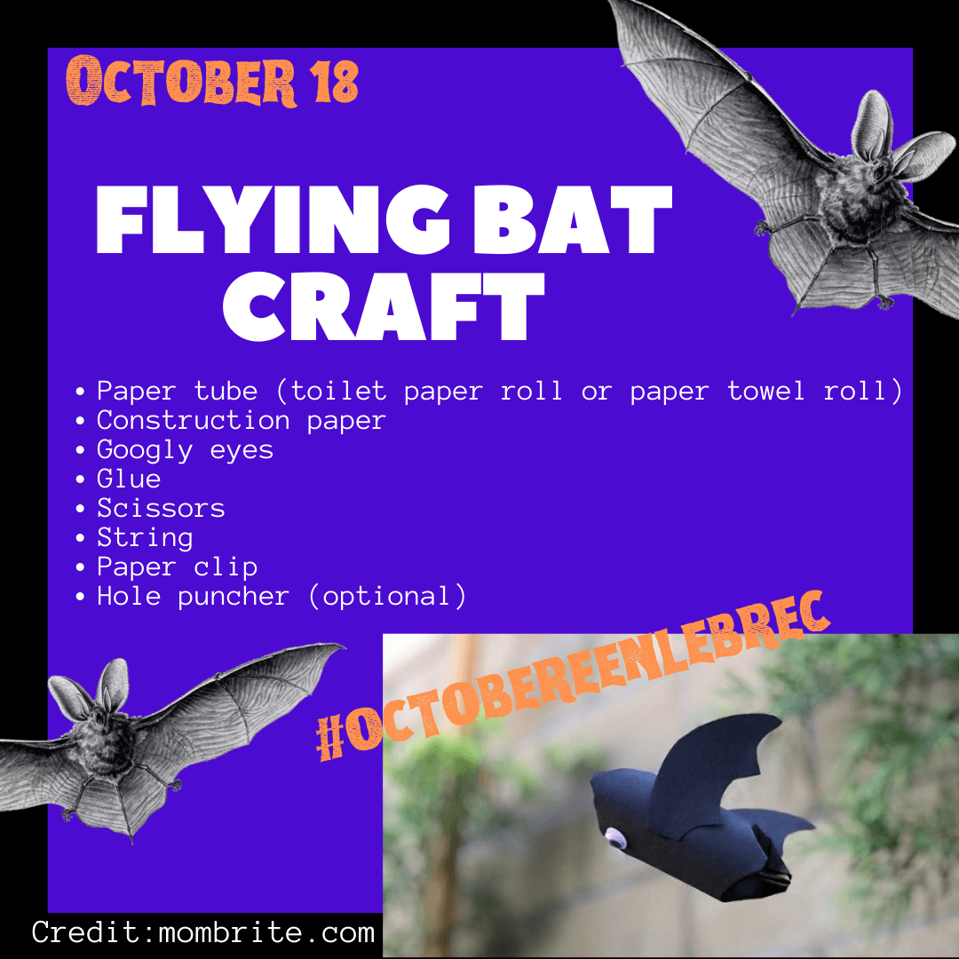 October 18 - Flying bat craft with a toilet paper tube, construction paper, and glue. Opens in new window