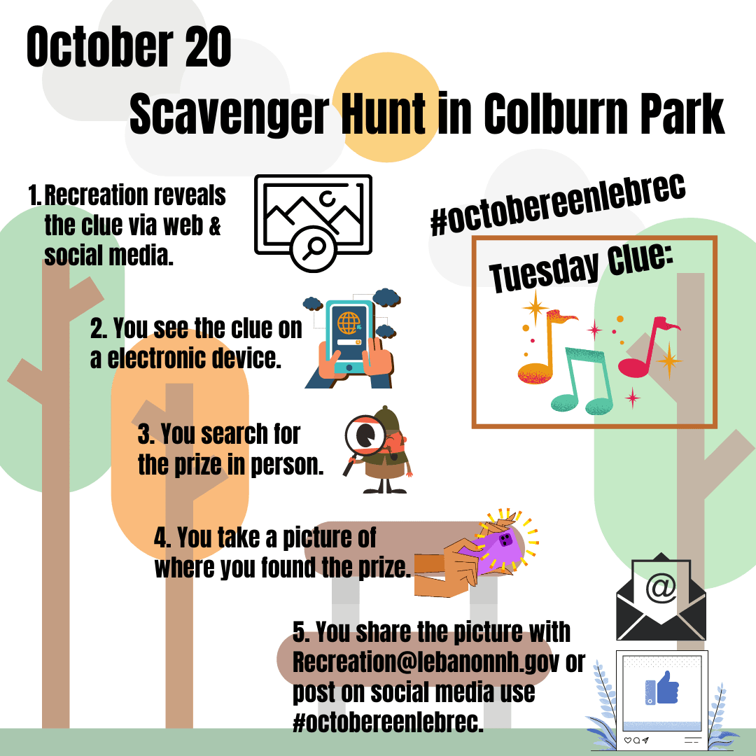 October 20 - Scavenger Hunt  in Colburn Park Clue is Music.